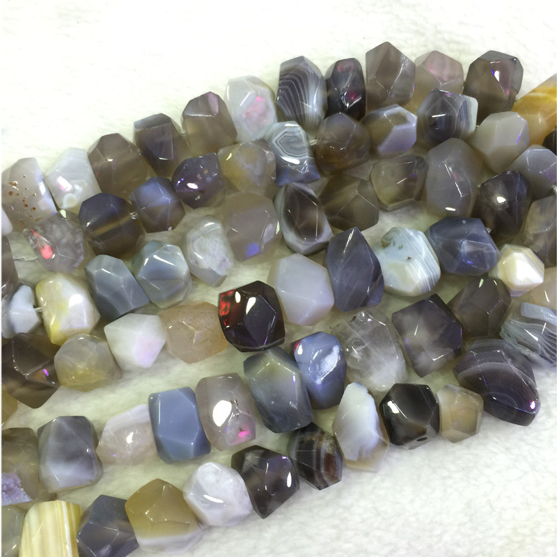 Natural Genuine Gray White Botswana Agate Fortification Onyx Hand Cut Faceted Nugget Free Form Loose Beads 15 04230-A