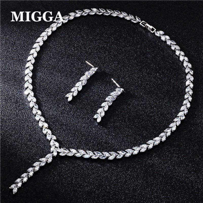 MIGGA High Quality Cubic Zircon Stone Long Leaf Earrings Necklace Jewelry Set Women Engagment Wedding Accessories a suit of chic rhinestoned leaf wedding jewelry set for women