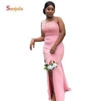 One Shoulder Pink Bridesmaid Dresses 2019 Lace Wedding Guest Dresses Long Leg Slit Maid of Honor Gowns vestido invitada D757