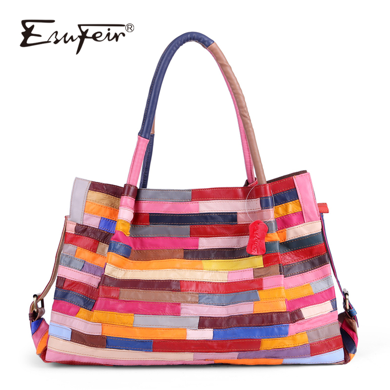 ESUFEIR Brand Genuine Leather Women Handbag Colorful Sheepskin Patchwork Shoulder Bag for Women Large Capacity Casual Tote BagESUFEIR Brand Genuine Leather Women Handbag Colorful Sheepskin Patchwork Shoulder Bag for Women Large Capacity Casual Tote Bag