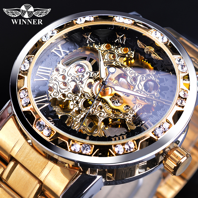 Winner Golden Watches Classic Rhinestone Clock Roman Analog Male Skeleton Clocks Mechanical Stainless Steel Band Luminous Watch 1