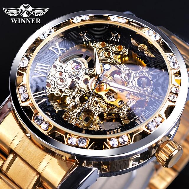 受賞は、古典的なラインストーン時計ローマアナログ男性スケルトン時計機械式ステンレス鋼バンド夜光時計