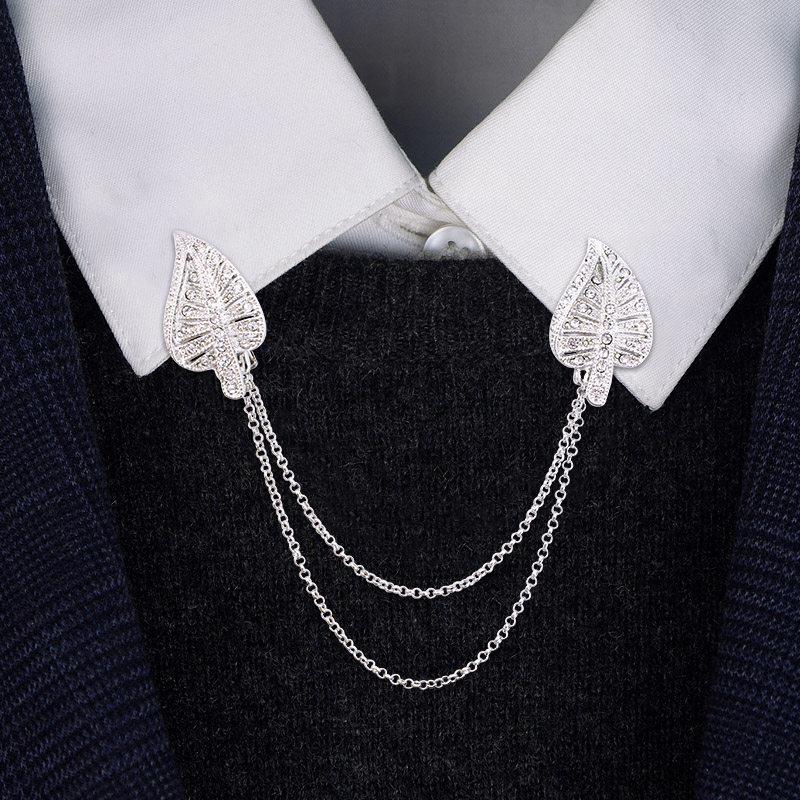 Men's Rhinestone Tie Clips & Cufflinks Suit Shirt Clamp Folder Symmetrical Silver Tone Personality Party Jewelry For Male BP112
