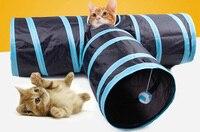 2 pcs/lot Nouvelle Conception Spéciale Chat Tunnel avec des Boules Pliable 3 trous Plus Drôle Animaux Jouer Jouets Tunnel pour Chaton Chiot chien