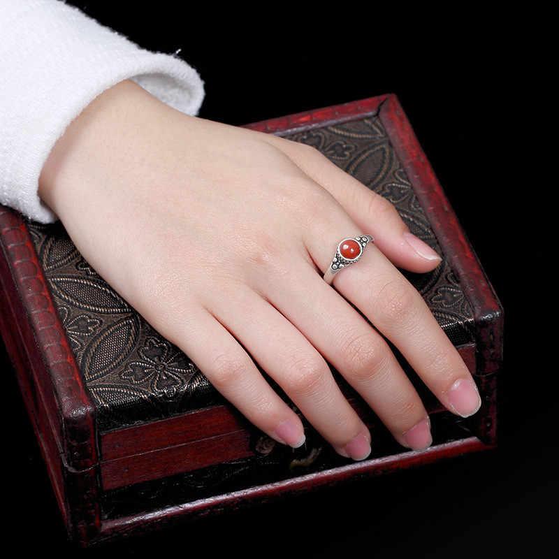 V.YA หินสีแดงธรรมชาติแหวน 925 เงินสเตอร์ลิงแหวนหญิงปรับขนาด Silver เครื่องประดับสำหรับสุภาพสตรี