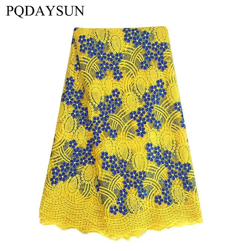 African Lace Fabrics Nigeria Lace Fabrics Embroidery Blue Yellow Wedding Beaded Lace Աֆրիկյան Հարսանյաց Դեկոր Գործվածքներ 5 Yards 2019