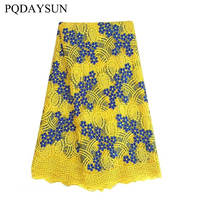 Best Quality African Lace Fabric Yellow Swiss Voile Lace High Quality Emboridery Cotton French Mesh Lace