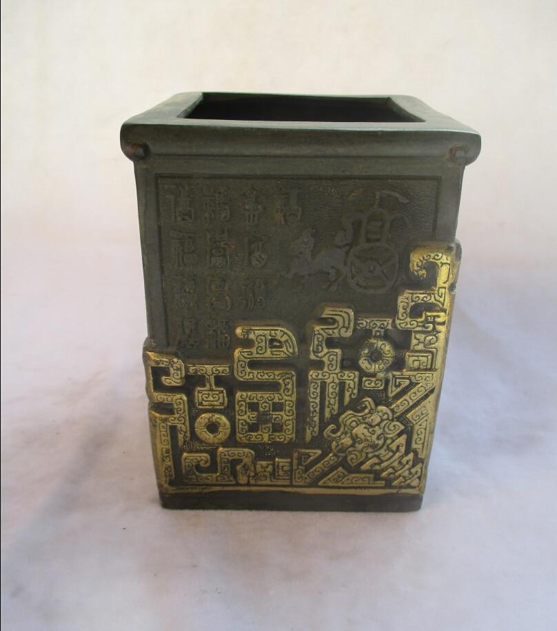 Chinois vieux Bronze doré doré sculpté grand porte-stylo/porte-stylo en métal