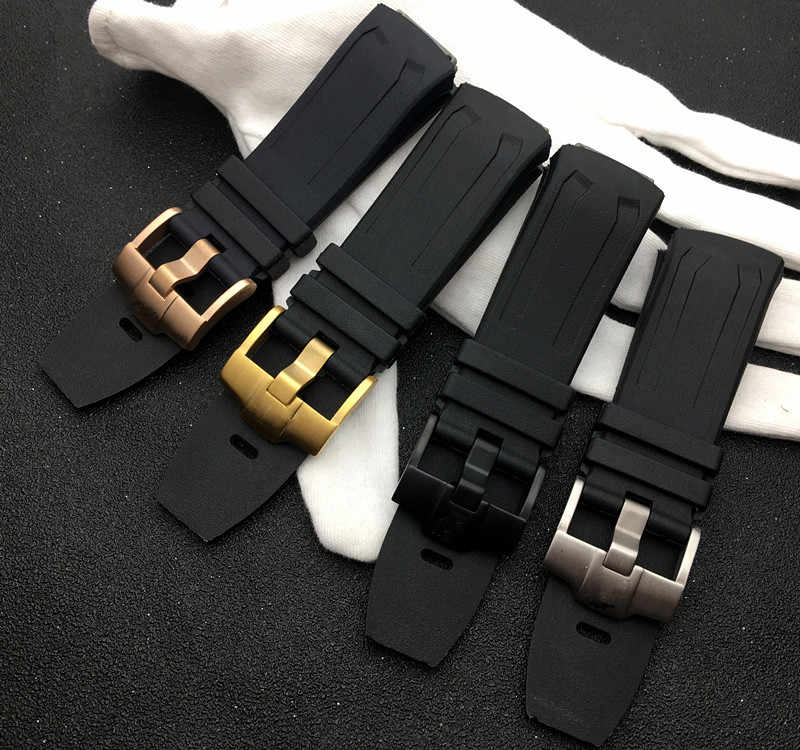 أسود العلامة التجارية مربط الساعة 27x21 مللي متر حزام (استيك) ساعة AP 26560IO 26577TI 26221FT ل اوديمارس و Piguet حزام شعار على البلوط مفهوم بتوقيت جرينتش حزام