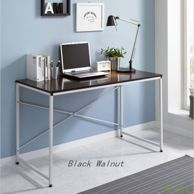 1 Piece Computer Desk Office Table Writing Simple Wood Metal Laptop Pc