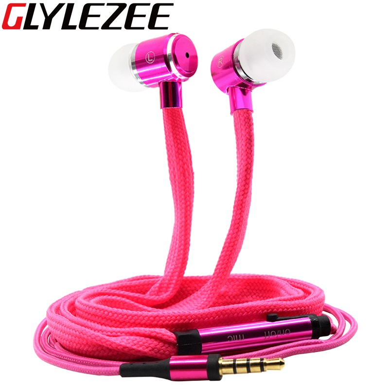 Glylezee Shoelaces Ear Hook Stereo Metal Bass Head Earphone Headset Music Headphone with Mic Remote Control for Cellphone