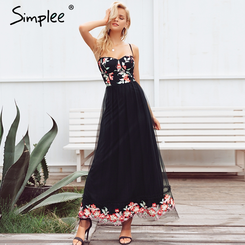 Simplee Strap flower embroidery mesh black dress Women plus size backless sexy dress slim long party dresses 2018 autumn winter