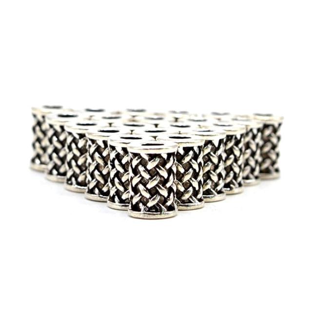 Viking Rune beads beard bauble alloy vinatge silver color big hole Beard beads c