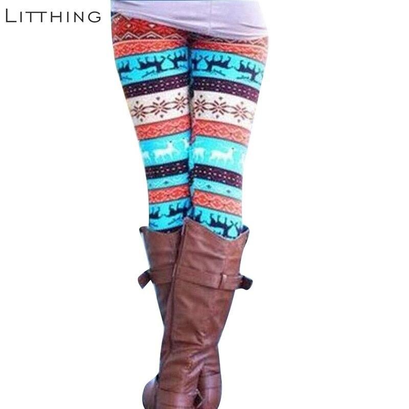 Litthing Christmas Women Leggings Elasticity Skinny Print Stretchy Pants Leggin Lady Casual Trouser Leggings Calzas Mujer Thin