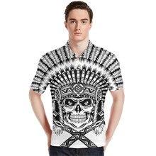 FORUDESIGN Shirt Skull Decoration Fashion Short Sleeve Cool Mercerized Cotton Slim Fit Casual Business Men Shirts  Brand