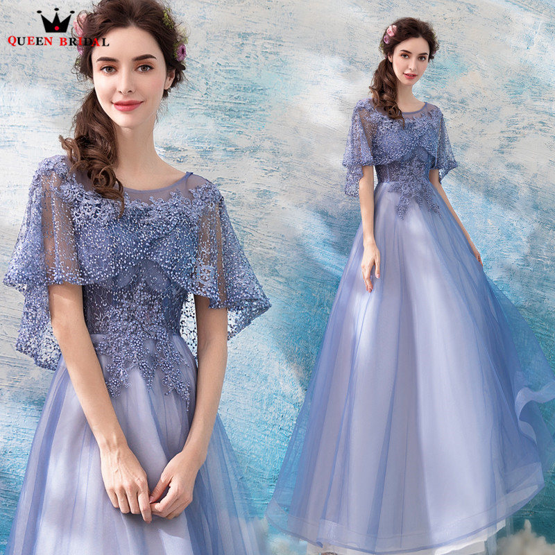 A-lin Cape Lace Beading TulleLong Formal Elegant   Evening     Dresses   2018 New Prom Party   Dress     Evening   Gowns Robe De Soiree NT73