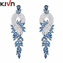 KIVN Fashion Jewelry Luxury Long Pave CZ Cubic Zirconia Bridal Wedding Earrings for Women Promotion Birthday Christmas Gifts