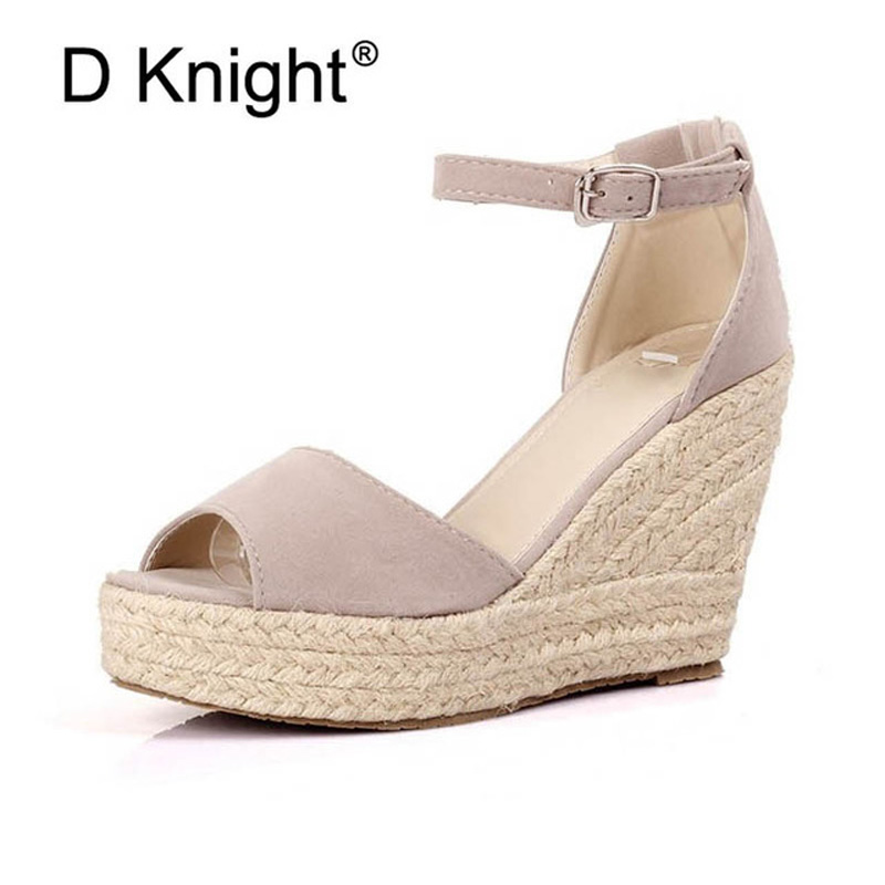 Big Size 32-44 Summer Woman Sandals Shoes Boho Ankle Strap Women Wedge Heels Shoes For Girl Fish Mouth Platform High Heel Sandal qplyxco 2017 big small size 32 46 peep toe ankle strap thick high heel sandals platform ladies shoes women sandal 2095