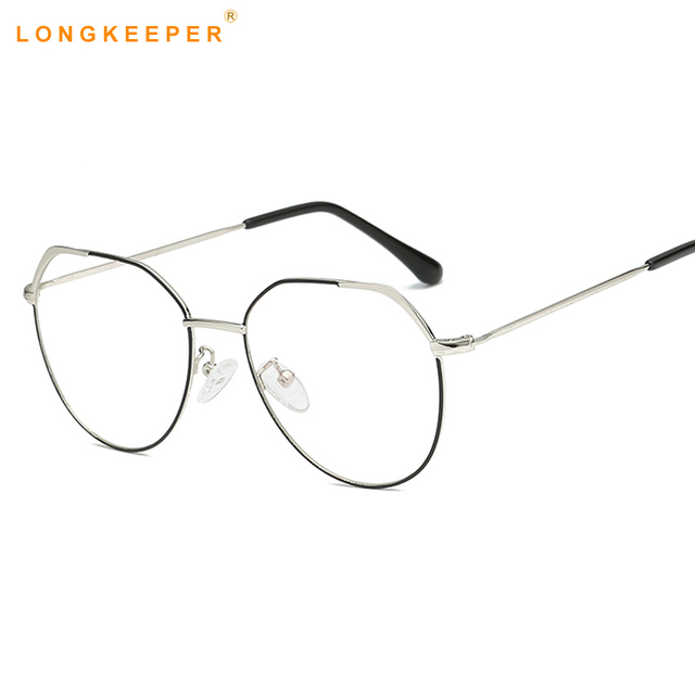 23cc3c986582 Metal Round Glasses transparent Gold Frame Glasses fashion Optics  Eyeglasses Clear Lens Women Men Fake Glasses Female UV400 Gafa
