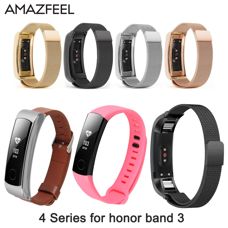AMAZFEEL Metal Stainless Steel strap for Huawei Honor Band 3 Replace Bracelet Wristband Milanese Honor Band 3 Watch Strap strap