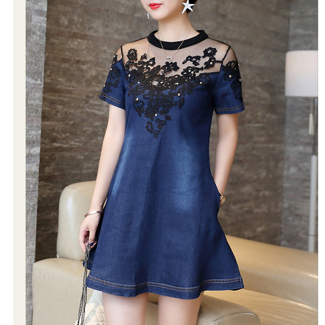 US $18.3 |4Xl Plus Size Denim Dresses For Women Mesh Lace Denim Dress  Embroidery Summer A Line Jeans Dresses Woman Short Sleeve Thin Dress-in  Dresses ...