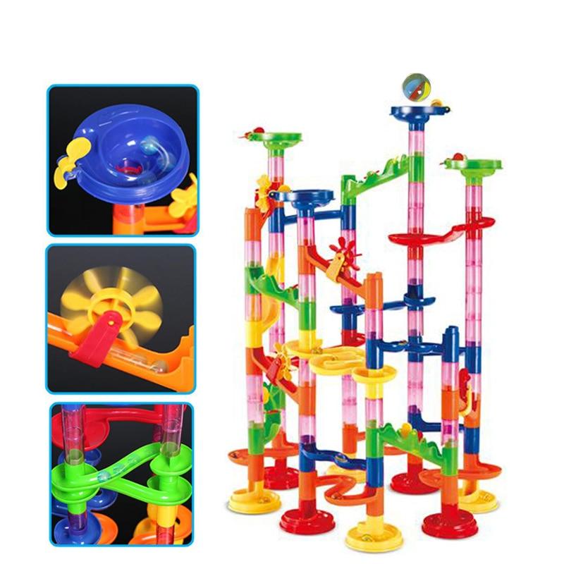 Model 3D Bangunan blok Pembinaan Marble Run bola Roller coaster mainan 105 PCS Marble Race Main Maze Ball Toys untuk kanak-kanak