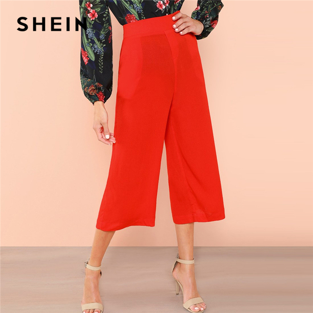 ff1e1e048f SHEIN Red Elastic Waist Culotte Pants Elegant Wide Leg Mid Waist Capris  Trousers Women Autumn Plain
