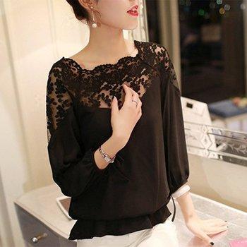 Women Loose Casual Chiffon Long Sleeve Lace Black White Shirts Summer Blouse Tops Blusas