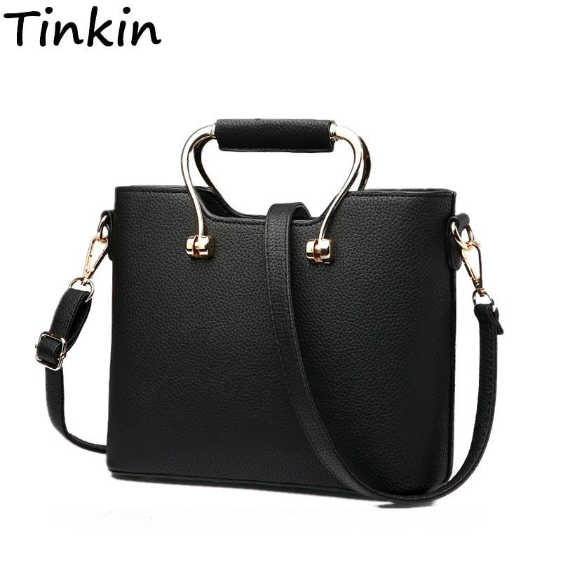 Tinkin Women Elegant PU Shoulder Bags Female Vintage Daily Handbags Classy Shopping Crossbody Bag Casual All-match Dames Tassen