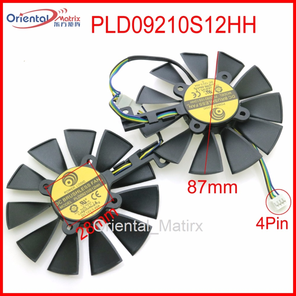 Free Shipping PLD09210S12HH 12V 0.40A 87mm VGA Fan For ASUS GTX1060 GTX1070 RX480 RX570 Graphics Card Cooling Fan free shipping t129025su 12v 0 38a 4pin for asus hd7970 hd7950 gtx680 directcu ii graphics card fan
