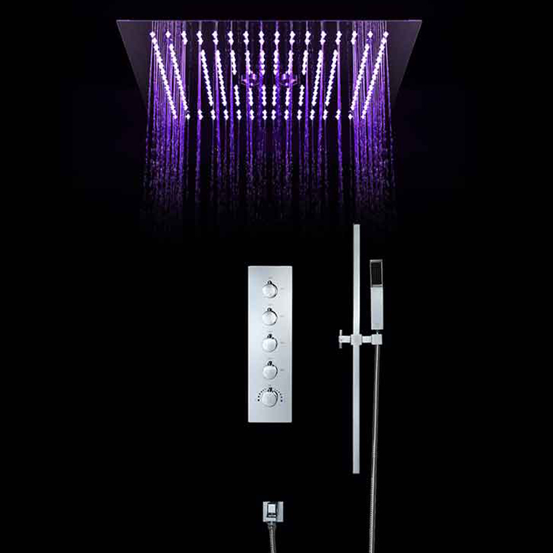Intelligent Shower Set Thermostatic Luxury European Style Large SUS304 Misty Showerhead Bathroom Remote Control Led Ceiling