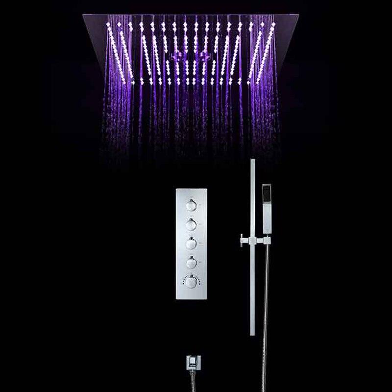 Ensemble de douche Intelligent thermostatique de luxe Style européen grand SUS304 pomme de douche brumeuse salle de bain télécommande Led plafond