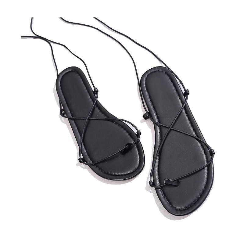 Vrouwen Sandalen Platte Met Schoenen Bandage Bohemen Leisure Lady Sandalen Peep-Teen Outdoor vrouwen zomer schoeisel Schoenen