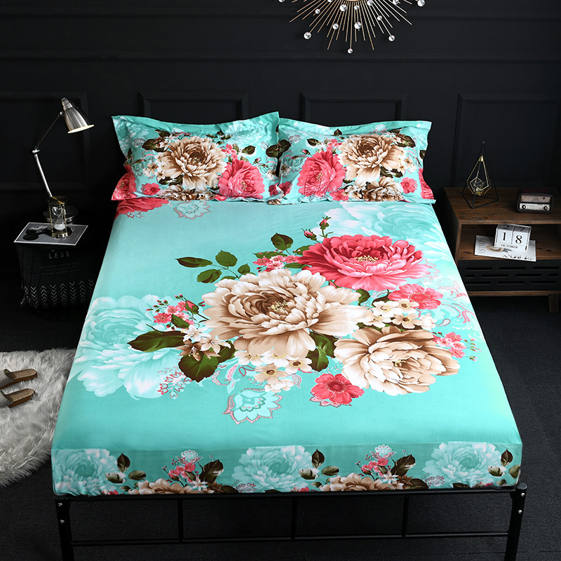100%Cotton Thick Oriental Floral Vibrant Fitted Sheet Bed Sheet 100% Soft Breathable Cotton Mattress Cover Twin Queen Size 3Pcs