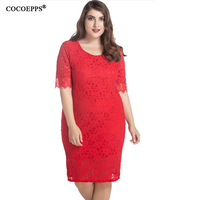 M 9XL Red Dress Big Size 2017 Women Elegant Evening Party Club Dresses Plus Size Lace