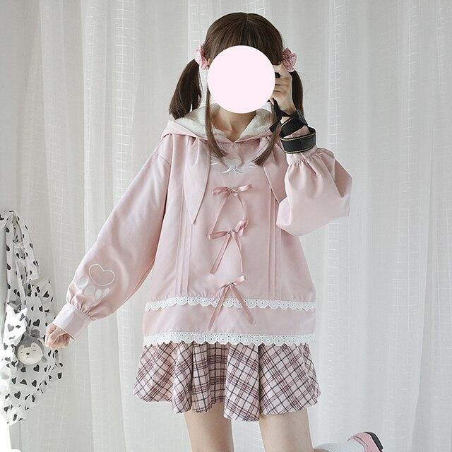 Original Design Long Ear Rabbit Cute Women's Hooded Pink Pullover Winter Fall Long Sleeve Lolita Hoodies Sweatshirt Girls by Neko Para