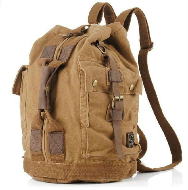 8a6b30125f2f 2017 Fashion Vintage Military Cotton Canvas Men s Backpack men Bucket bag  Military canvas Backpack School male Rucksack large