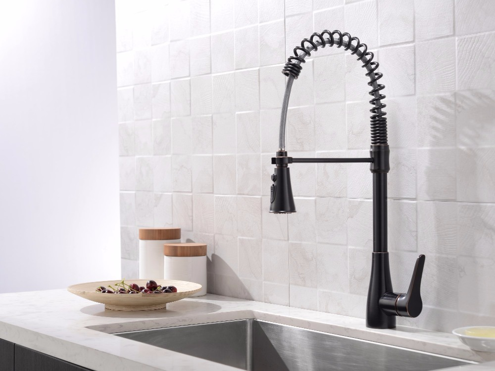 Brass Singel Lever Tall Pull Down Oil Rubbed Bronze Kitchen Faucet With Retractable Pull Out Wand Sprayer Head Swivel Spout
