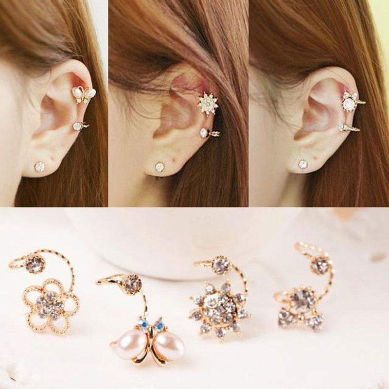 Gold Color Crystal Flower Bow Ear Clip Cuff Earrings For Women Girls Crystal Femme Earrings Wholesale Fashion Korean Jewelry