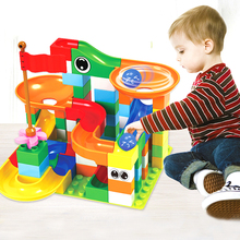 43-296 PCS Marble Race Run Maze Ball Track Building Blocks ABS Funnel Slide Assemble Bricks Compatible LegoINGlys Duploe