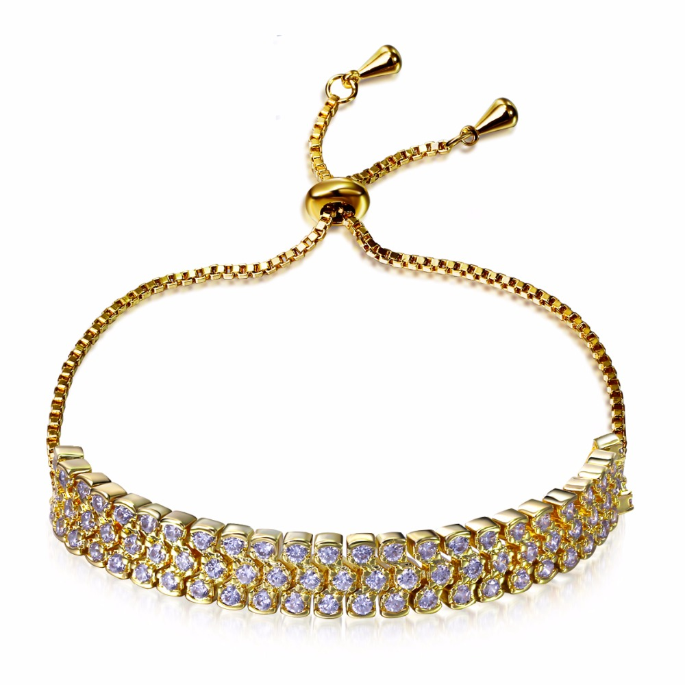 Cheap price bracelet Made in China Buyer favourites Women formal fine jewelry 3 rows of zirconia stones Free size pulseira