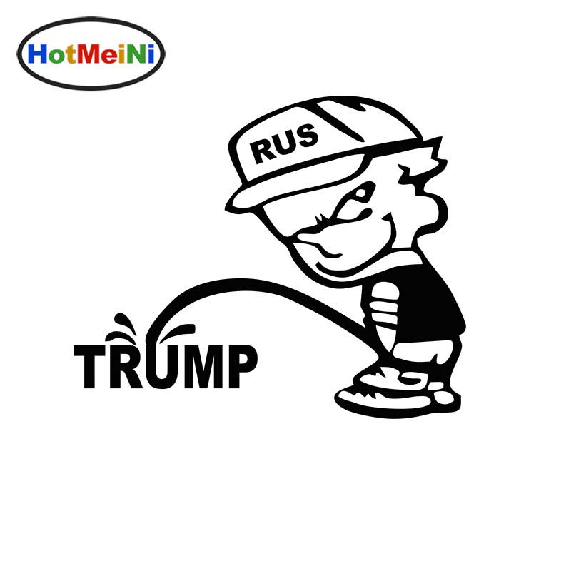 HotMeiNi Funny Rus Bad Boy Pee Piss Trump Car Sticker For Truck Window Bumper Auto Door And All The Smooth Surface Vinyl Decal horse riding sticker for car rear windshield truck suv bumper auto door laptop kayak canoe art wall die cut vinyl decal 8 colors