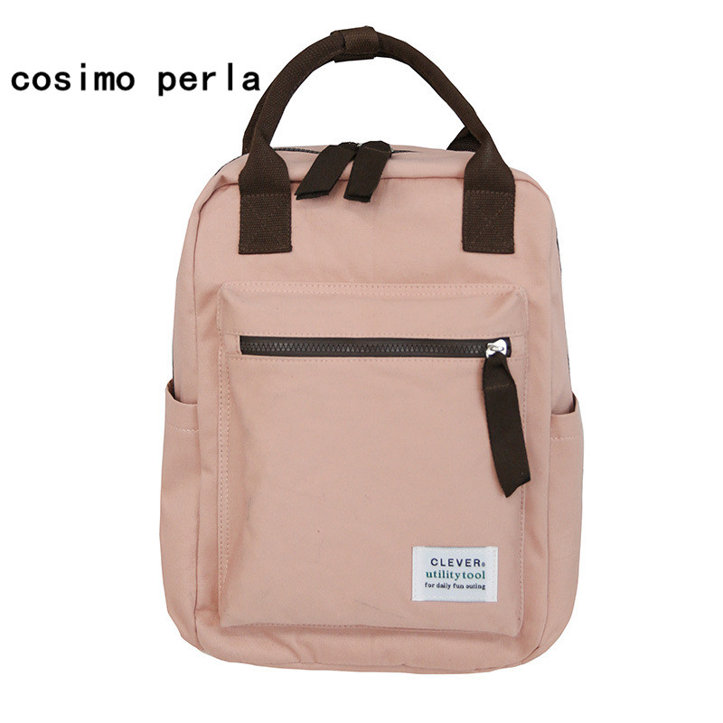 Plain Square Canvas Kanken Backpacks Female Japan Style College Women Travel Backpack Bag Top Handle Laptop Rucksack Girls 2019