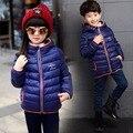 Дети 2016 Новый Зима Теплая Пальто Мальчики Девочки Верхняя Одежда с капюшоном Snowsuit Мода Белая Утка Вниз Куртка для 5-14 Лет дети