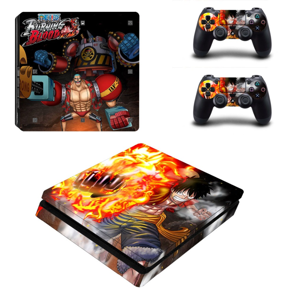 PS4 Slim Skin Sticker One Piece: Burning Blood Decals Designed for PlayStation4 Slim Console and 2 controller skins