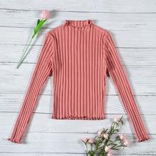 b5299bb4e730 Mujeres moda suéter 2018 otoño puro algodón Delgado Casual Pullover Top  estilo coreano Street Crop Rosa Boho elegante punto