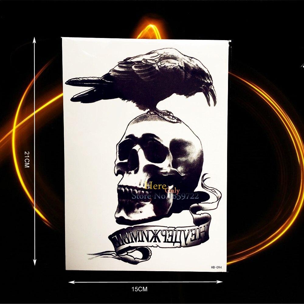 Tatouage Épaule Homme pour noir corbeau mort crâne tête Étanche 3d autocollants de tatouage