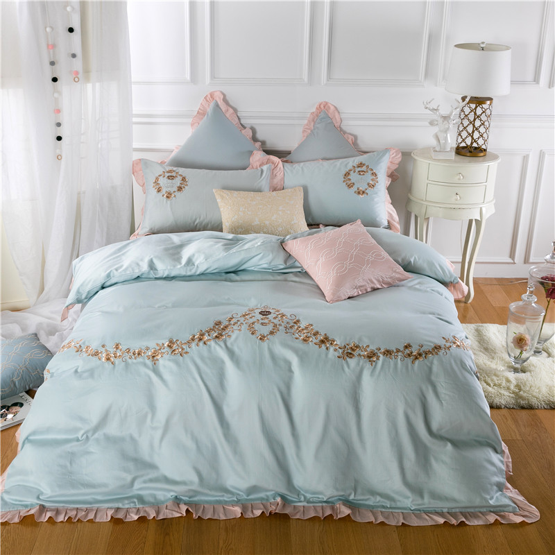 Egyptian Cotton Light-Blue Pillowcases Bedding-Set Duvet-Cover Bed-Sheet Embroidery Pink