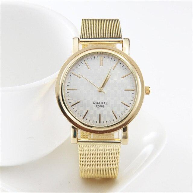c6e47ab808d Impermeable fabuloso moda de lujo a estrenar vestido reloj mujeres oro  Acero inoxidable analog Saat reloj