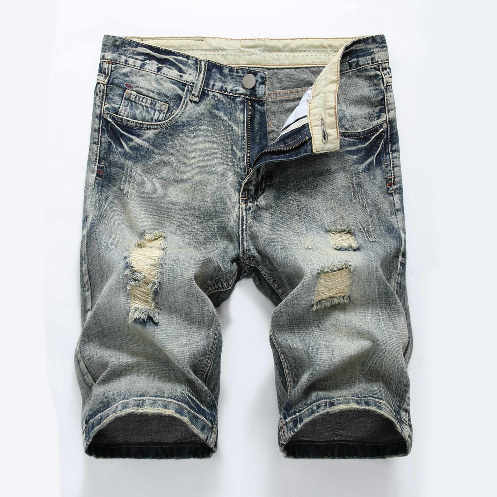 f5d3d4f748 Summer cotton hole denim shorts male ripped jeans retro men jean shorts  bermuda skate board harem